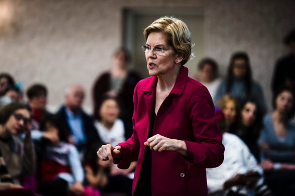 Elizabeth Warren during an American Federation of Teachers town hall event, at the Plumbers Local 690 Union Hall in Philadelphia, Monday, May 13, 2019.