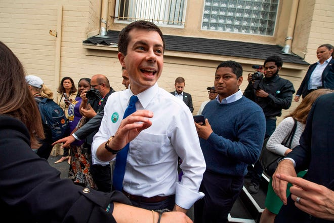 Pete Buttigieg meets supporters at a community event in Los Angeles, California on May 9, 2019.