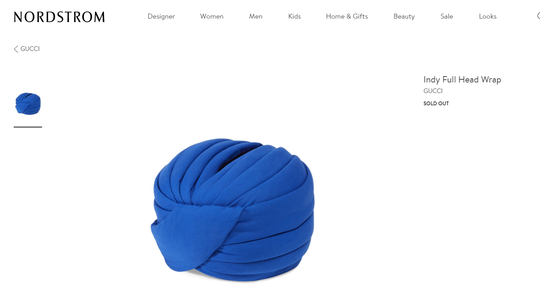 "Nordstrom currently lists Gucci's ""Indy Full Head Wrap"" as sold out."