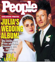 The cover of People magazine revealing Roberts' wedding to Lyle Lovett.