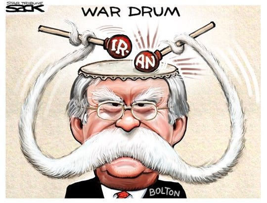 Bolton's war drum.