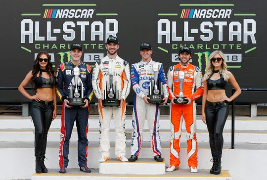 (From left to right) Alex Bowman, Daniel Suarez, and AJ Allmendinger won the stages in the 2018 Monster Energy Open, while Chase Elliott (right) won the fan vote to qualify for the NASCAR All-Star Race.
