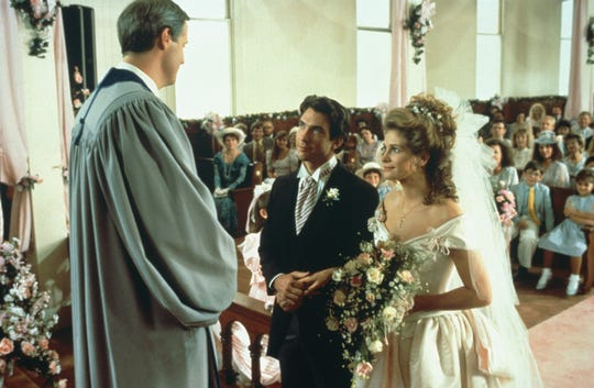 "Robert Harling stars as the minister when Dylan McDermott's Jackson marries Julia Robert's Shelby in ""Steel Magnolias."""