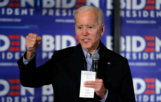 Former Vice President and Democratic presidential candidate Joe Biden speaks during a campaign stop at the Community Oven restaurant in Hampton, N.H., May 13, 2019.