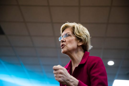 Democratic presidential candidate Sen. Elizabeth Warren, D-Mass., during an American Federation of Teachers town hall event, at the Plumbers Local 690 Union Hall in Philadelphia, Monday, May 13, 2019.