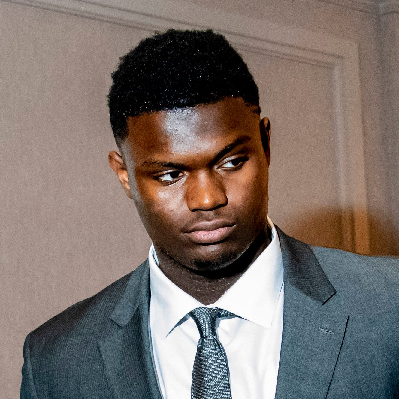 Duke forward Zion Williamson prior to the NBA Draft Lottery at the Hilton Chicago.