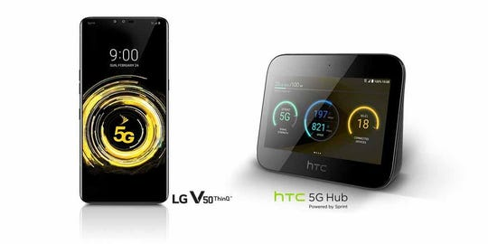 Sprint's first 5G devices: LG V50 ThinQ and HTC 5G Hub.