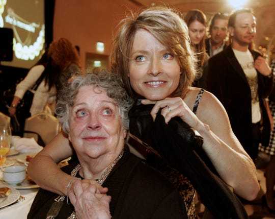 "Jodie Foster, right, with her mother Evelyn Foster on Dec. 4, 2007. Evelyn ""Brandy"" Foster died peacefully at her Los Angeles home of complications from dementia, Monday, May 13, 2019. She was 90."