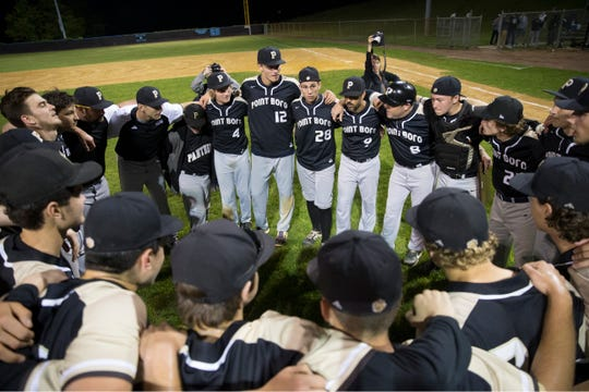 Point Pleasant Boro celebrates the win. Point Pleasant Boro defeats Jackson Liberty in the Ocean County Tournament baseball championship game.Toms River, NJThursday, May 16, 2019