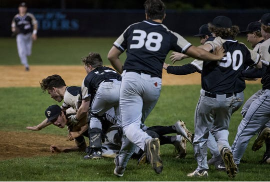 Point Pleasant Boro celebrates the win. Point Pleasant Boro defeats Jackson Liberty in the Ocean County Tournament baseball championship game.