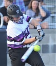 Wylie's Kaylee Beard drives in the Lady Bulldogs' only run in the sixth inning against The Colony. Bailey Buck, who had tripled, scored on the play. Beard reached on a one-out error, but Buck would have scored anyway. The Colony won the game 7-1 on Thursday, May 16, 2019, at Graford to lead the best-of-three Region I-5A semifinal series 1-0.