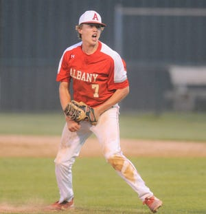 Albany pitcher Cade Neve celebrates after striking out the final batter of Game 2 of a Region I-2A quarterfinal baseball series against Haskell on Thursday at McMurry's Walt Driggers Field.