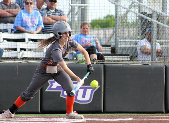 Rotan's Jackie Dunn bunts in the bottom of the sixth inning and reached first base only to having the ball roll foul. The Ladyhammers, however, rallied for two runs to edge Borden County 9-8 to open their Region I-1A championship series at Poly Wells Field at Abilene Christian University. May 16, 2019.
