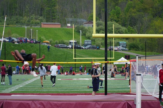 Union-Endicott's Ese Amata clears 6 feet to win the high jump in Thursday's STAC Championships at Johnson City.