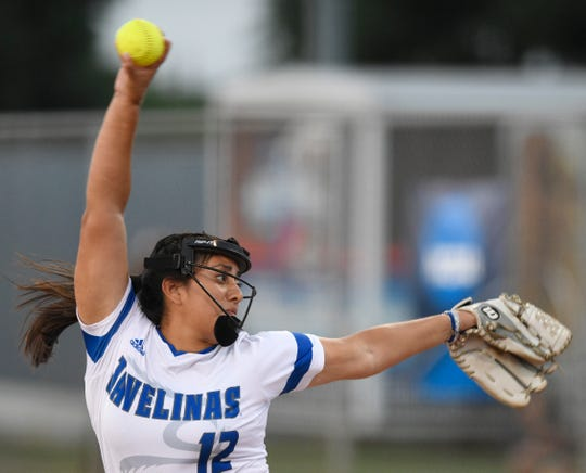 Saidi Castillo, a Santa Gertrudis Academy grad, struck out 11 and allowed three hits in a win over Young Harris.  (Photo: Annie Rice/Caller-Times)