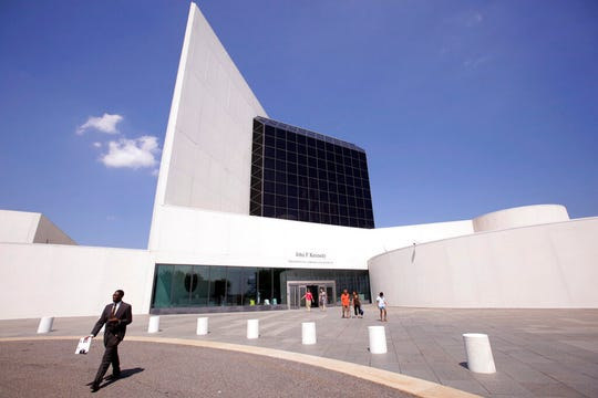 This Aug. 19, 2009, file photo shows the entrance of the John F. Kennedy Presidential Library and Museum, designed by architect I.M. Pei, in Boston.