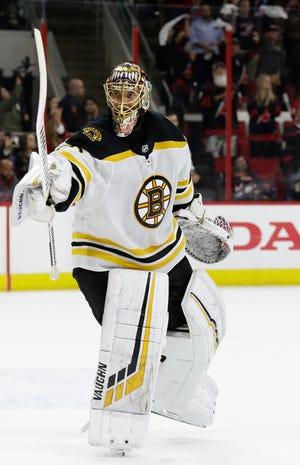 Boston Bruins goalie Tuukka Rask reacts as time expires against the Carolina Hurricanes following Game 4.