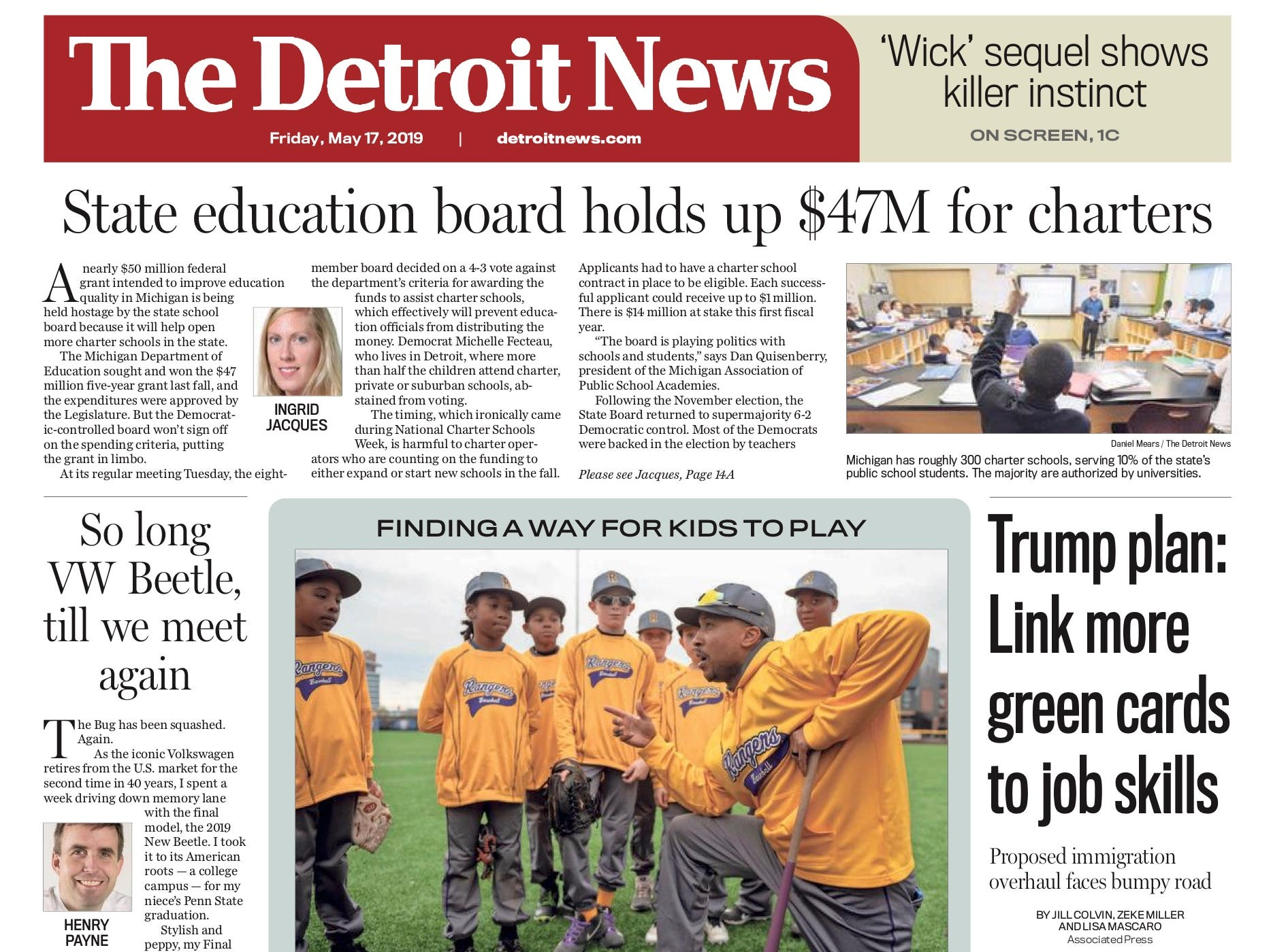 The front page of the Detroit News on May 17, 2019.