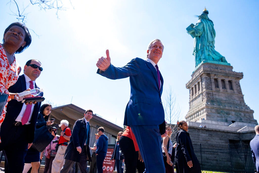 New York Mayor Bill de Blasio arrives for the official dedication ceremony of the Statue of Liberty Museum on Liberty Island Thursday, May 16, 2019, in New York. De Blasio announced Thursday that he will seek the Democratic nomination for president, adding his name to an already long list of candidates itching for a chance to take on Donald Trump.