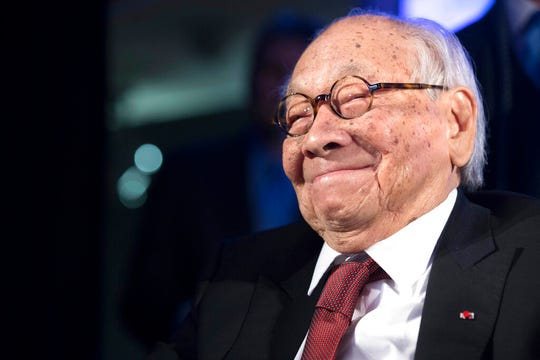 In this Thursday, Oct. 27, 2016, file photo, Chinese-American architect I.M. Pei smiles as he accepts the Lifetime Achievement Award during the 2016 Asia Game Changer Awards ceremony in New York.