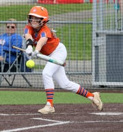 Riley Vincent of Thomas A. Edison bunts for a hit in a 2-1 win over Waverly in the Interscholastic Athletic Conference softball championship game on May 16, 2019 at Cornell's Niemand-Robison Field.