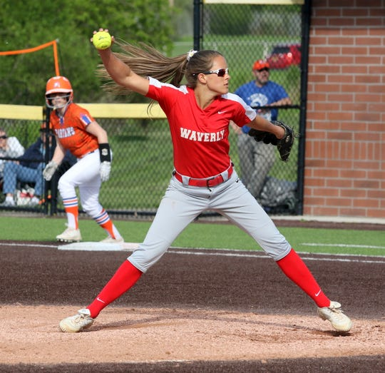 Wendi Hammond pitches for Waverly in a 2-1 loss to Thomas A. Edison in the Interscholastic Athletic Conference softball championship game May 16, 2019 at Cornell's Niemand-Robison Field.