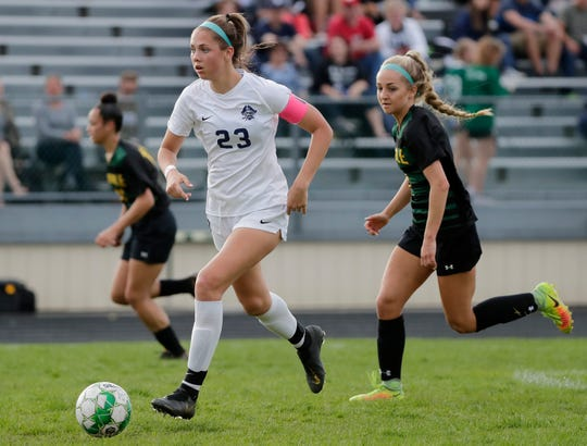 Bay Port junior Emma Nagel (23) was named the Gatorade girls soccer player of the year for Wisconsin on Thursday. She has 42 goals.