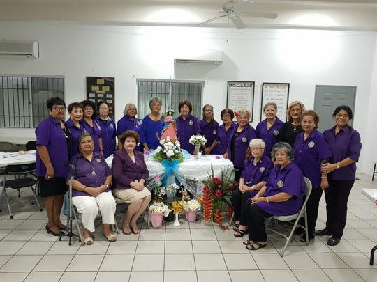 The Catholic Daughters of the Americas Court Our Lady of Camarin #2047 members are shown gathered at the May Crowning event in Hagåtña. Seated from left: Maria Limtiaco, Worthy-Regent Priscilla Muna, Amparo Garcia, and Liz Untalan. Back row from left: Terry Alegarbes, Cecilia Perez, Marian Aflague, Pacita Aguon, Terry Tuncap, Marie Taitano, Chilang Mantanona, Julia Viloria, Rita Okiyama, Rosita Diaz, Bev Borja, Connie Cruz, Ann Chargualaf, and Christine Calvo.