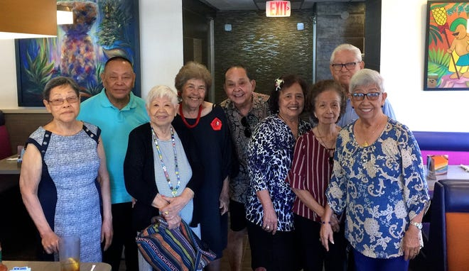 The Island-Wide Class of 1956 held its monthly luncheon at King's Restaurant in Tamuning on May 9. Pictured from left: Cecilia Shaw, Joe Alig, Rosario Sholing Bautista (visiting from Hawaii), Julia Villagomez, Frank Borja, Teresita Paulino, Rita Duenas Guzman, Blas Perez and Jovie Mejorada.