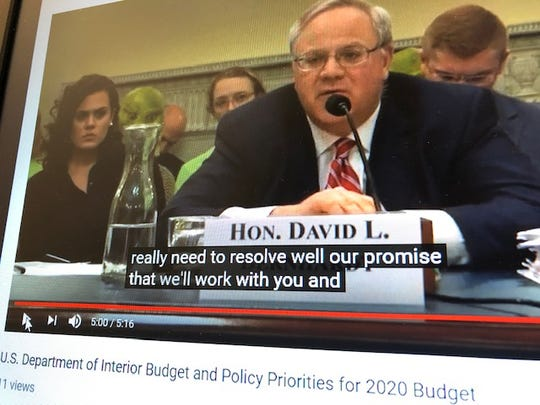 A screen grab of U.S. Interior Secretary David Bernhardt responding to Del. Mike San Nicolas' questions about the earned income tax credit liabilities for regional migrants on Guam, during a U.S. House Natural Resources Committee on the Interior's 2020 budget.