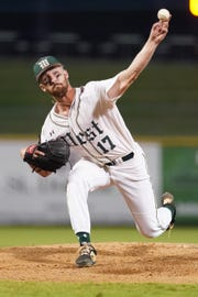 West Jones pitcher Kris Riley delivers against Lafayette County during Game Two of the MHSAA 5A Baseball Championship held at the Trustmark Park in Pearl, MS, Wednesday May 16th, 2019.