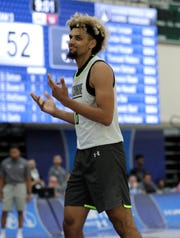 Brian Bowen from Sydney Kings, Australia, participates in the NBA draft basketball combine day one in Chicago, Thursday, May 16, 2019.