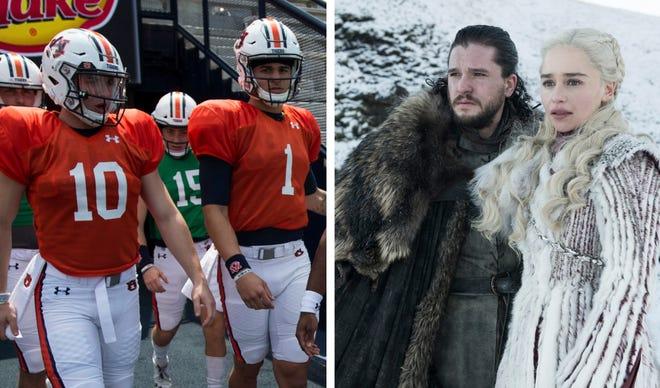 Auburn quarterbacks Bo Nix (10) and Joey Gatewood (1), and Jon Snow and Daenerys Targaryen