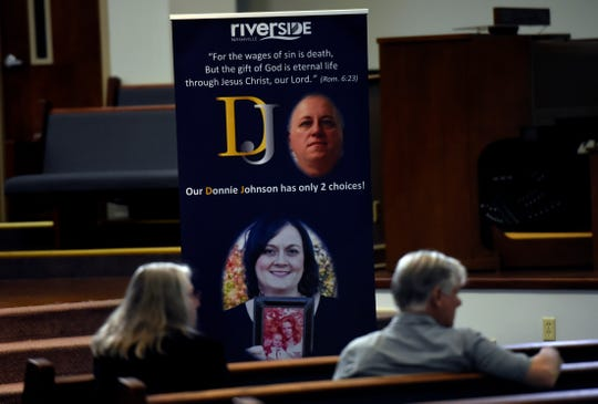 Supporters for Donnie Johnson wait for the start of an anti-death penalty vigil at the Riverside Chapel Seventh-day Adventist Church, Thursday, May 16, 2019, in Nashville, Tenn. Donnie Johnson, who is to be executed Thursday, belonged to the church on Youngs Lane. He was sentenced to death for the 1984 murder of his wife Connie Johnson in Memphis. He suffocated her by stuffing a 30-gallon trash bag down her throat.
