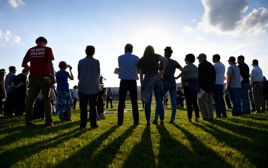 Protesters against the death penalty gather during the execution of Donnie Johnson outside Riverbend Maximum Security Institution Thursday, May 16, 2019 in Nashville, Tenn.