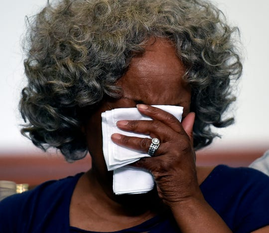 Bonita Scott-Parker cries for Donnie Johnson during an anti-death penalty vigil at the Riverside Chapel Seventh-day Adventist Church, Thursday, May 16, 2019, in Nashville, Tenn. Donnie Johnson, who is to be executed Thursday, belonged to the church on Youngs Lane. He was sentenced to death for the 1984 murder of his wife Connie Johnson in Memphis. He suffocated her by stuffing a 30-gallon trash bag down her throat.