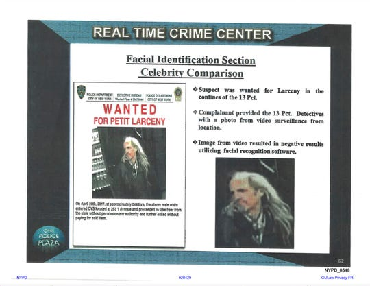 This undated image provided by Georgetown University's Center on Privacy and Technology shows presentation material with images of a wanted suspect in a New York Police Department document obtained by the university. Georgetown University's Center on Privacy and Technology published a report Thursday, May 16, 2019, on what it says are flawed practices in law enforcement's use of facial recognition. The report says NYPD used a photo of Woody Harrelson in its facial recognition program in an attempt to identify the beer thief who looked like the actor.