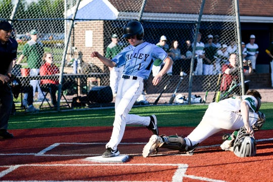 Wayne Valley's Zach Hoover scores the Indians' first run of the game. Wayne Valley defeated Passaic Valley 2-1 in the Passaic County baseball championship on Thursday, May 16, 2019, in Wayne.