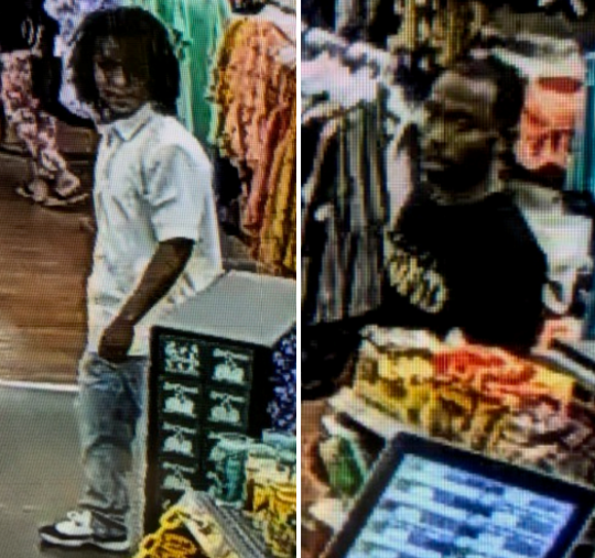 Las Cruces police are asking for the public's help identifying these two men suspected of using stolen credit cards at a Las Cruces Walmart store on Thursday, April 25, 2019.