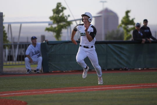 Farmington's Wyatt Lawley bolts to home plate and scores a run against Rio Rancho during Thursday's 5A state baseball quarterfinals game at Santa Ana Star Field in Albuquerque.