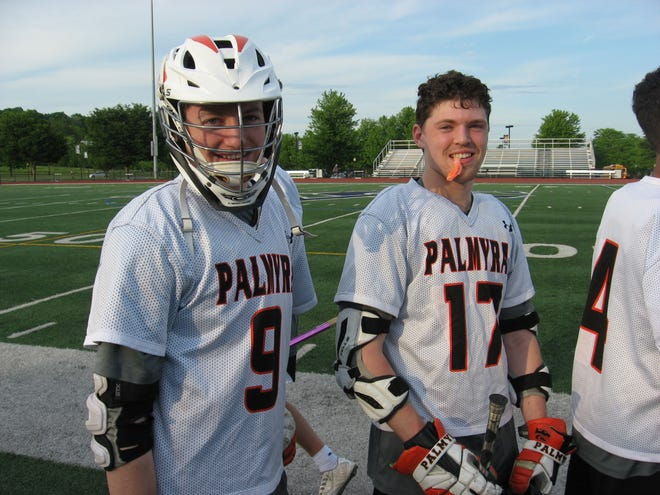 Kyle Wasilewski (9) and Jake Herman (17) had superb games for Palmyra in Thursday night's first round district win vs. Red Lion.