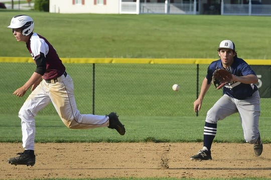 Dallastown shortstop Peter Capobianco fields a grounder as a Gettysburg baserunner dashes to third base in the YAIAA championship game Thursday, May 16, 2019.