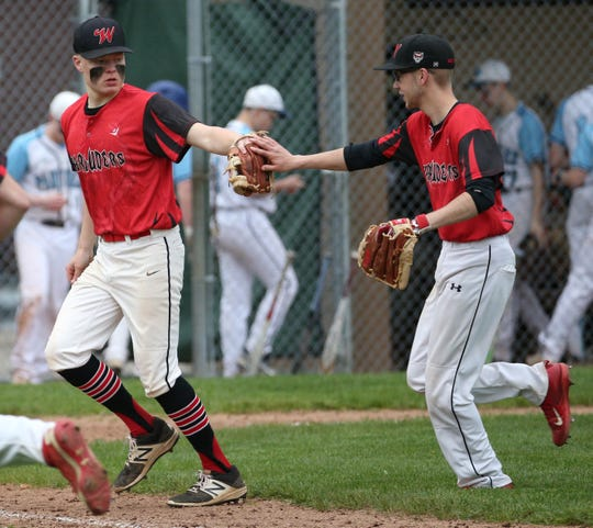 Williamson's Adam Fisk (10) ends the sixth inning against Gananda.