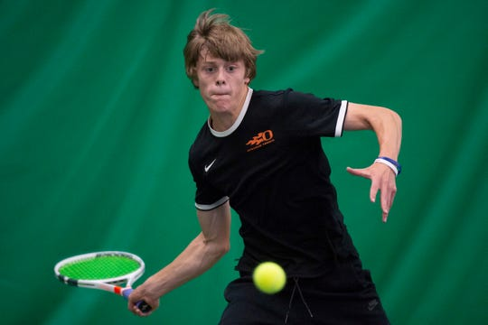 Sprague's Judson Blair competes in round two of the OSAA 6A Tennis State Championships against Barlow's Christian Maxey on Thursday, May 16, at the Babette Horenstein Tennis Center in Beaverton, Oregon