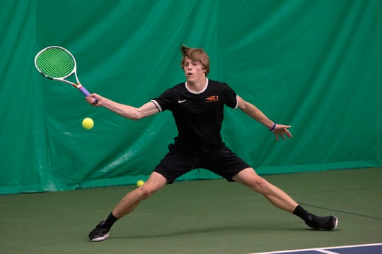 Sprague's Judson Blair competes in round two of the OSAA 6A Tennis State Championships against Barlow's Christian Maxey on Thursday, May 16 at the Babette Horenstein Tennis Center in Beaverton, Oregon