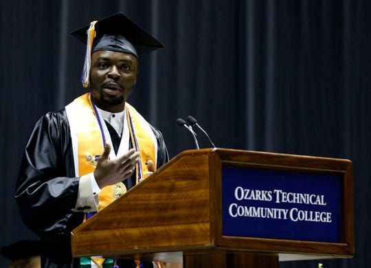 Nigerian native Igho Ekakitie speaks during the 2019 graduation of OTC at JQH Arena on May 16, 2019.
