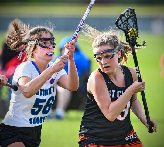 St. Cloud Area's Chloe Woodman and Adyn Larson of Sartell/Sauk Rapids battle during their lacrosse game Thursday, May 16, at Sauk Rapids-Rice High School.