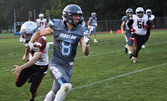 Maclay running back Ian Widener takes off on a 70-yard swing pass touchdown as the Marauders beat Cedar Creek Christian during a spring football game on May 16, 2019.