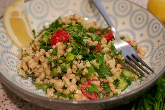 Anna Jones prepared a lemony mediterranean Farro salad with fresh herbs to demonstrate a healthy meal to help prevent stroke.