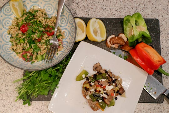 Anna Jones prepared a lemony mediterranean Farro salad with fresh herbs and an open-faced roasted vegetable sandwich with two bean hummus to demonstrate a healthy meal to help prevent stroke.